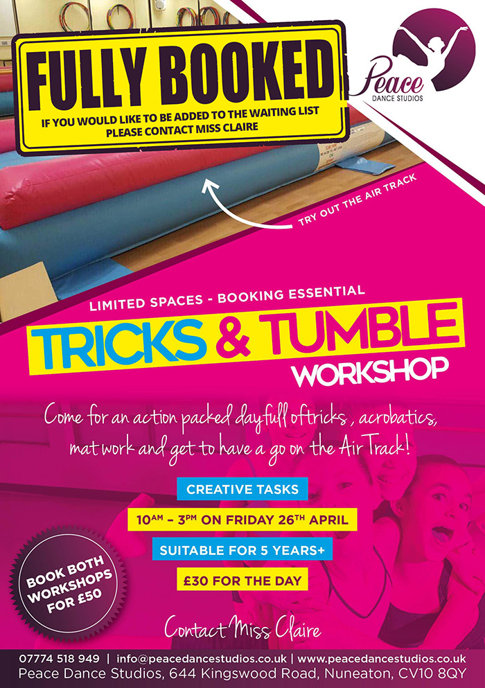 Tricks and Tumble Workshop Banner